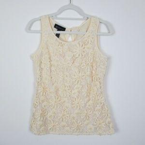 INC Cream Sleeveless Floral Lace Blouse, Medium